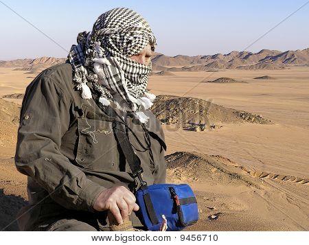 Senior tourist on Sahara Sand Dunes