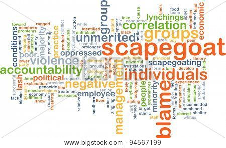 Background concept wordcloud illustration of scapegoat blame