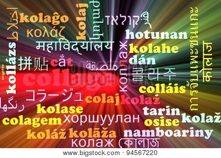 Background concept wordcloud multilanguage international many language illustration of collage glowing light