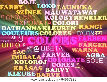Background concept wordcloud multilanguage international many language illustration of colors glowing light