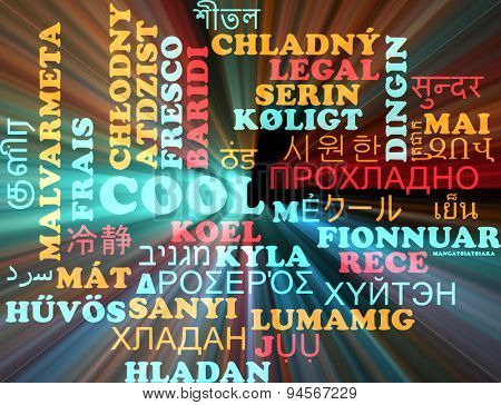 Background concept wordcloud multilanguage international many language illustration of cool glowing light