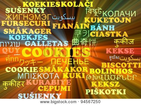 Background concept wordcloud multilanguage international many language illustration of cookies glowing light