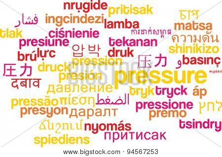 Background concept wordcloud multilanguage international many language illustration of pressure