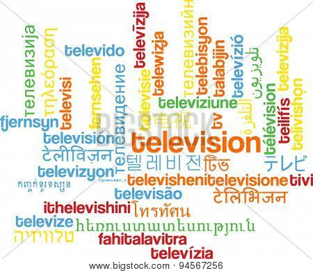 Background concept wordcloud multilanguage international many language illustration of television