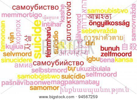 Background concept wordcloud multilanguage international many language illustration of sucide