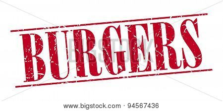 Burgers Red Grunge Vintage Stamp Isolated On White Background