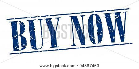 Buy Now Blue Grunge Vintage Stamp Isolated On White Background