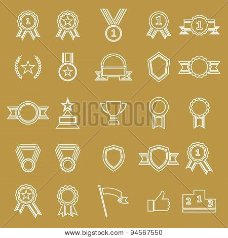 Award Line Icons On White Background