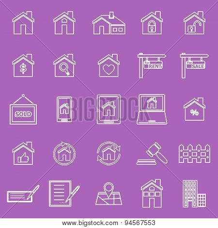 Real Estate Line Icons On Violet Background