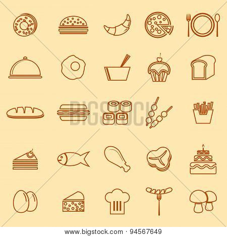 Food Line Icons On Yellow Background