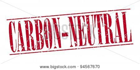 Carbon-neutral Red Grunge Vintage Stamp Isolated On White Background