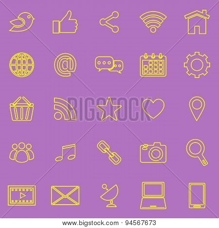 Social Media Line Icons On Violet Background