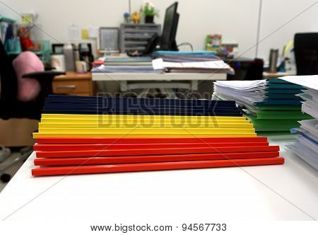 Blue, Yellow And Red  Plastic Ridge Files