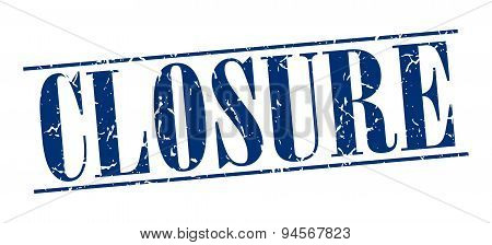 Closure Blue Grunge Vintage Stamp Isolated On White Background