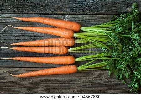 Bunch of carrots rustic harvest healhy organic vegetarian food on vintage wooden background