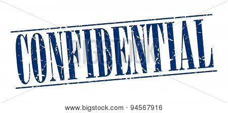 Confidential Blue Grunge Vintage Stamp Isolated On White Background