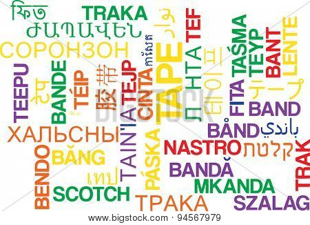 Background concept wordcloud multilanguage international many language illustration of tape
