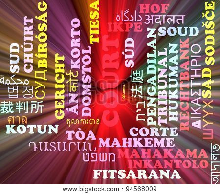 Background concept wordcloud multilanguage international many language illustration of court glowing light