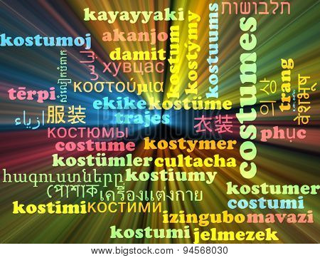 Background concept wordcloud multilanguage international many language illustration of costumes glowing light