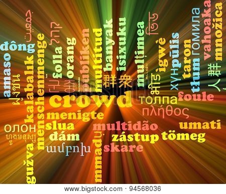 Background concept wordcloud multilanguage international many language illustration of crowd glowing light