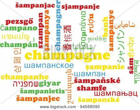 Background concept wordcloud multilanguage international many language illustration of champagne