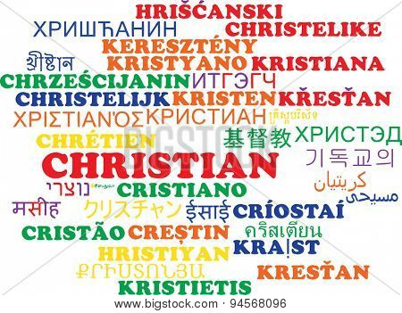Background concept wordcloud multilanguage international many language illustration of Christian