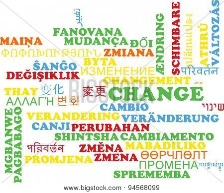 Background concept wordcloud multilanguage international many language illustration of change