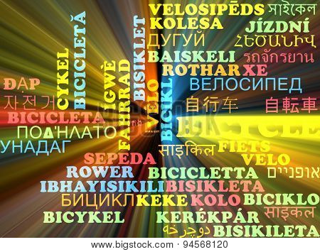 Background concept wordcloud multilanguage international many language illustration of bicycle glowing light