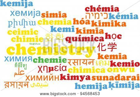 Background concept wordcloud multilanguage international many language illustration of chemistry