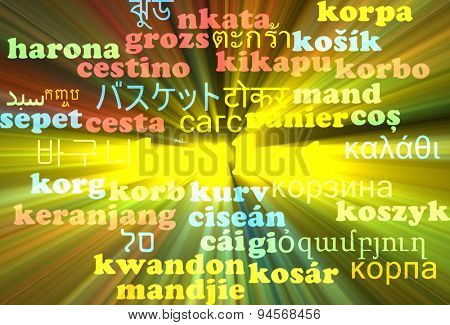 Background concept wordcloud multilanguage international many language illustration of basket glowing light
