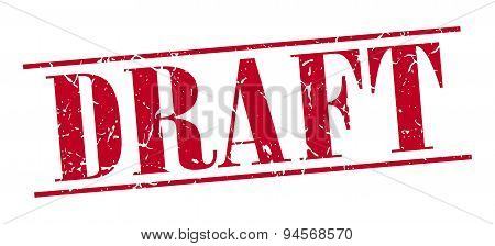 Draft Red Grunge Vintage Stamp Isolated On White Background