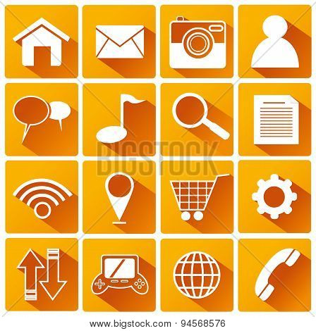 Smart Phone Application Flat Icons