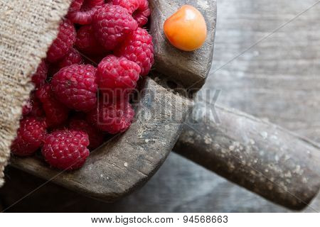 Fruit Background. Ripe Raspberry And Cherries