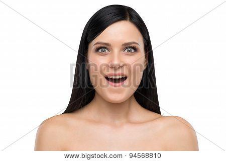 Portrait Of Astonished Brunette.