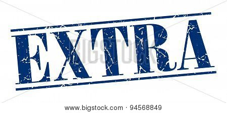 Extra Blue Grunge Vintage Stamp Isolated On White Background