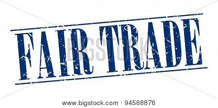 Fair Trade Blue Grunge Vintage Stamp Isolated On White Background