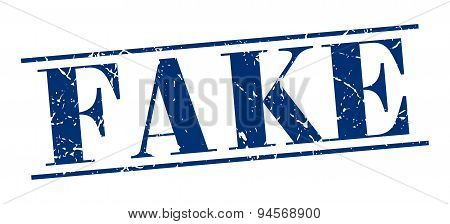 Fake Blue Grunge Vintage Stamp Isolated On White Background