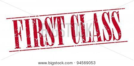 First Class Red Grunge Vintage Stamp Isolated On White Background