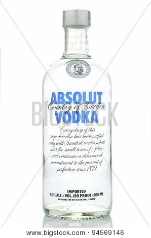 Absolut vodka isolated on white background
