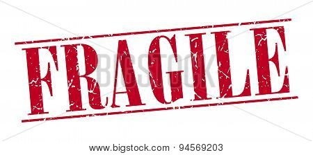 Fragile Red Grunge Vintage Stamp Isolated On White Background