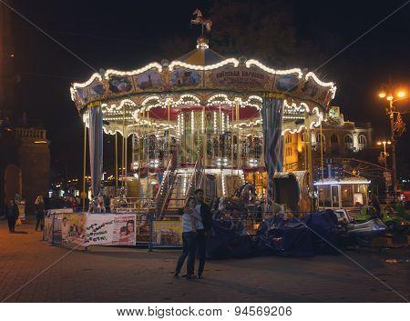 Kiev, Ukraine - September 9, 2013: Traditional Carousel Kiev Street Khreshchatyk