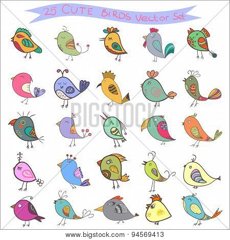 Set Of 25 Cute Birds In Vector. Cartoon Collection With Funny Little Bird Family.