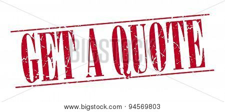 Get A Quote Red Grunge Vintage Stamp Isolated On White Background