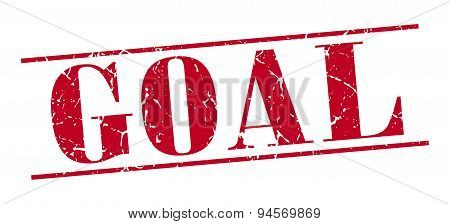 Goal Red Grunge Vintage Stamp Isolated On White Background