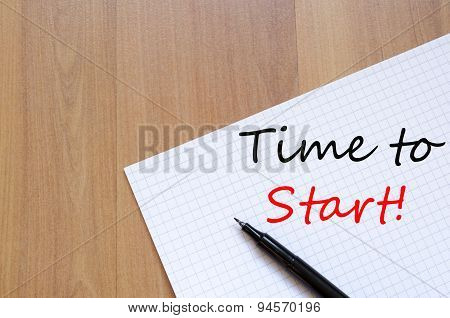 Time To Start Text Concept