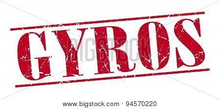 Gyros Red Grunge Vintage Stamp Isolated On White Background