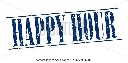 Happy Hour Blue Grunge Vintage Stamp Isolated On White Background
