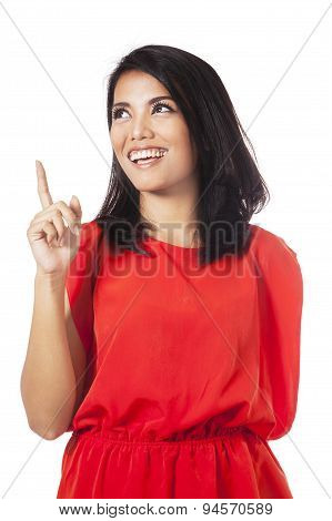 Pretty Woman With Red Clothes Having Idea