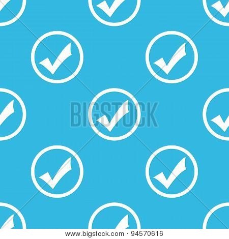 Tick mark sign blue pattern