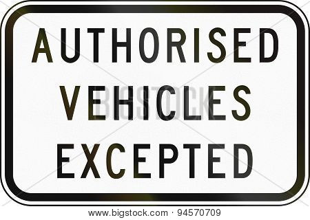 Authorized Vehicles Excepted In Australia